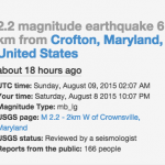 Crownsville Earthquake