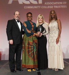 Association of Community College Trustees President and CEO J. Noah Brown, left, and immediate Past Chair Robin Smith, far right, present the Charles Kennedy Equity Award to Anne Arundel Community College Board of Trustees Vice Chair, the Rev. Dr. Diane Dixon-Proctor, left center, and AACC President Dr. Dawn Lindsay at a recent ceremony.