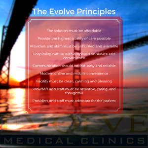 Evolve Medical Clinics in Annapolis, Maryland lists these as their guiding principles.