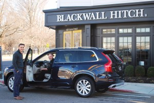 Anthony Ferrogine, Annapolis Volvo Consultant, shows Chef Zachary Pope of Blackwall Hitch, the new Volvo XC90, the luxury vehicle that will ferry the Valentine's Evening To Remember contest winners roundtrip to Blackwall Hitch for a complimentary dinner and drinks.