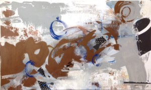 Patrice Drago, %22Downtown%22, acrylic, enamel & mixed media on canvas at Annapolis City Hall