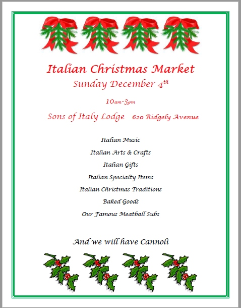 this unique event will feature italian food and handcrafted items like italian jewelry ceramics fused glass watercolor scenes photography of italy - Italian Christmas Music