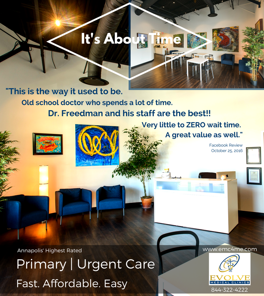 Evolve Medical provides the highest rated primary care and urgent care to Annapolis, Edgewater, Davidsonville, Crownsville, Severna Park, Arnold, Gambrills, Crofton, Waugh Chapel, Stevensville, Pasadena and Glen Burnie.