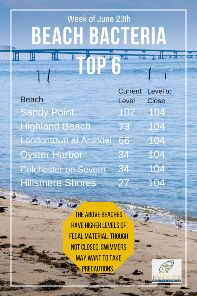 Chesapeake Bay Safe Swimming Guide to beaches in Anne Arundel County Evolve Medical Clinics