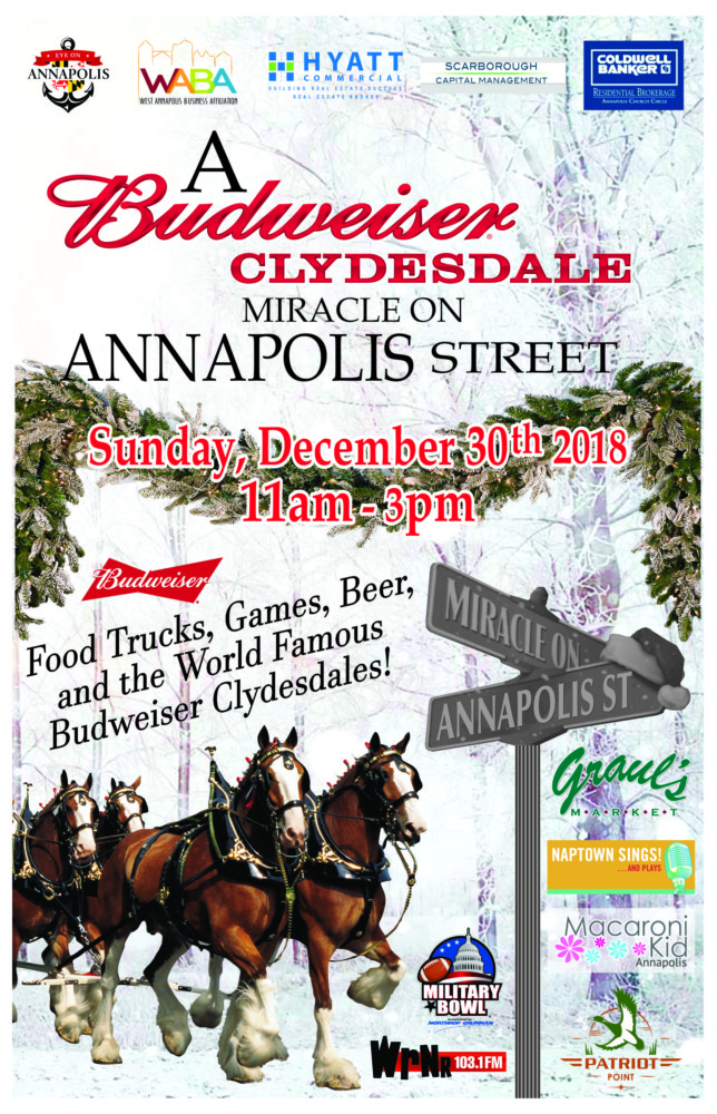 This Sunday — A Miracle on Annapolis Street with the Budweiser Clydesdales