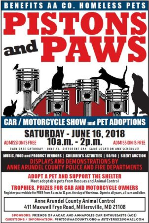 Pistons and Paws car and motorcycle show along with pet adoption THIS WEEKEND